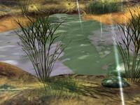 3d puddle simulated rain