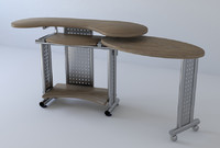 3d model pc table wood
