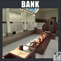 bank lobby 3d model
