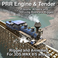 3d model prr engine tender rigged