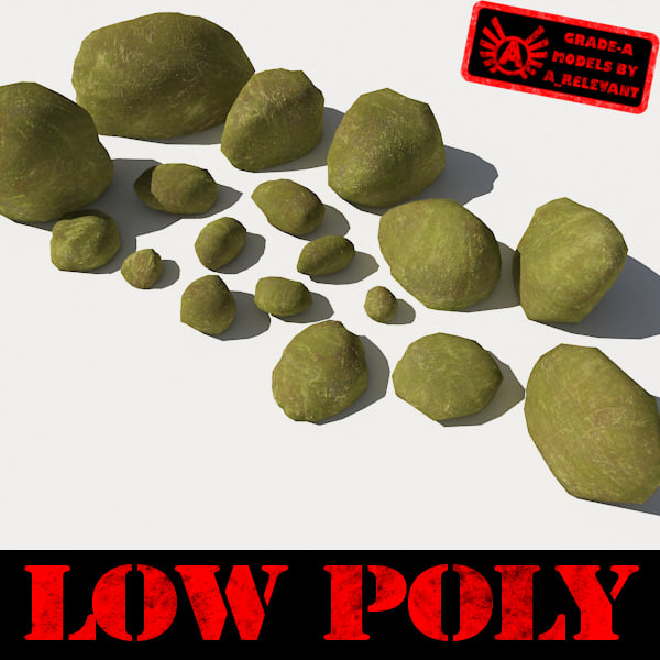 Rocks 9 Low Poly Smooth RM10 - Mossy Green 3D Rocks or Stones