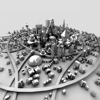 3d sci-fi town model