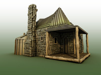 3d old cottage model