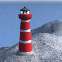3d lighthouse cliffs