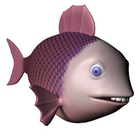 Purple Fish Character