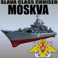 3d model slava class cruiser moskva