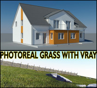 3d photoreal villa house grass garden model