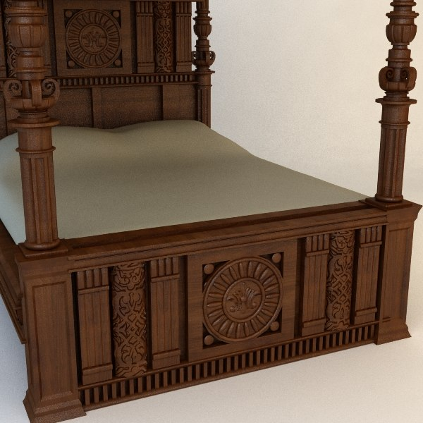 3d traditional bed - Antique Canopy Bed... by 3dfurniture