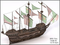 Spanish Galleon, Mid Poly, Textured
