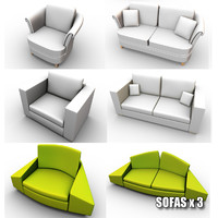 3d sofas armchairs model