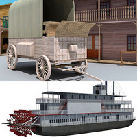3d western town steam boat model
