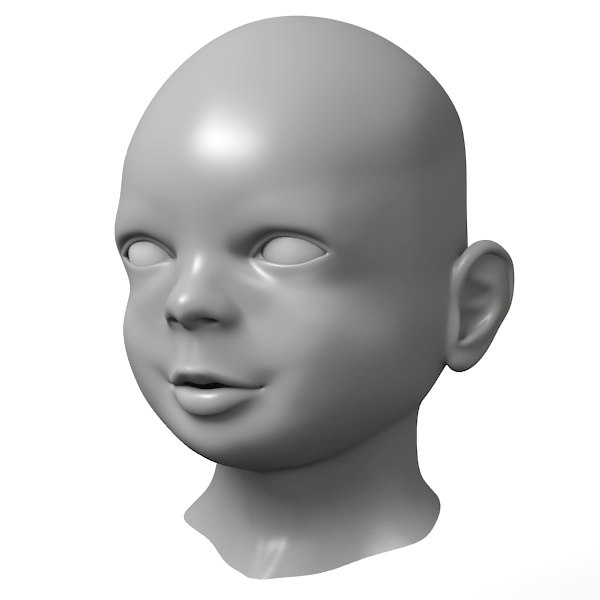 3d model baby head - Baby Head... by Guido Vrola