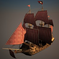 Low poly Galleon