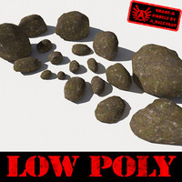 Rocks 10 Low Poly Smooth RM11 - Mossy Dirty 3D Rocks or Stones
