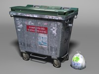 metallic garbage bin bag 3d model