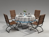 Garden furniture set with tableware
