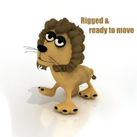 maya cartoon lion rigged