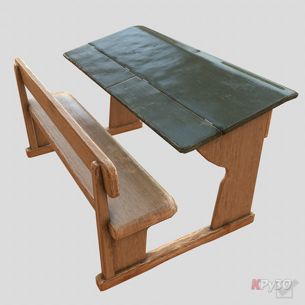 3d model old school desk