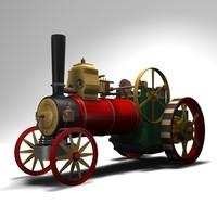 free old steam locomobile 3d model