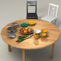 3d vegetables table kitchen