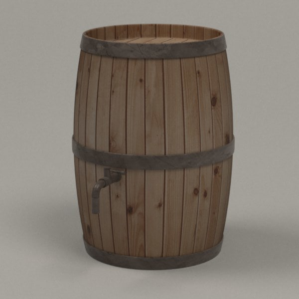 wooden barrel 3d 3ds - barrel woodsw4... by bescec