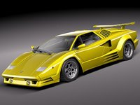 3d lamborghini countach 5000qv 25th model