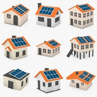 3d model cartoon houses solar panels