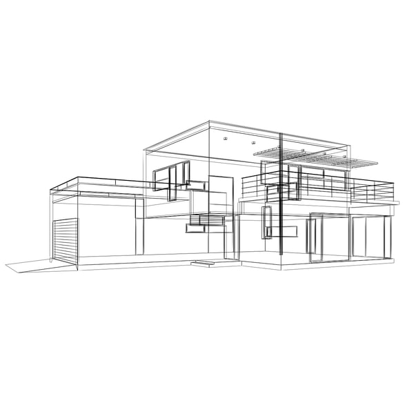 functionalist building elevations 3d model - house-1... by aatomik