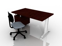 3d model of office chair desk