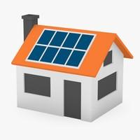 3dsmax cartoon house solar panels