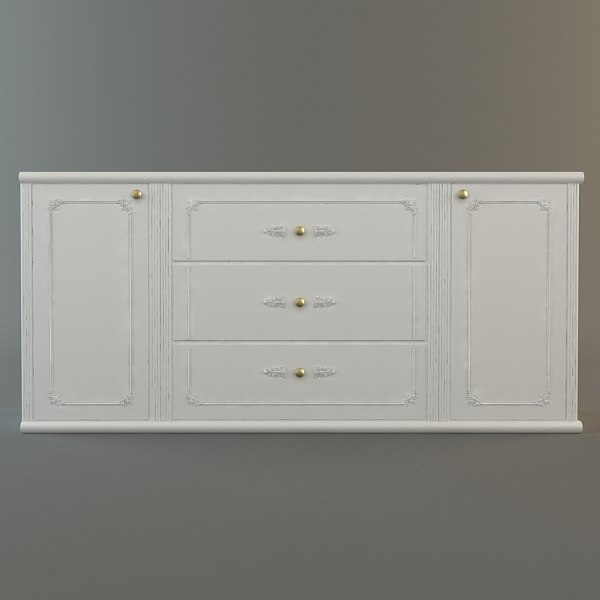 max white drawer details - White Credenza Cabinet... by 3dfurniture
