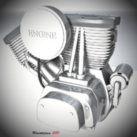 realistic bike engine 3d model