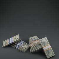 pile 100 bills 3d model