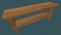 3d butcher block table model