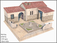 Classic Greek House, Low Poly, Textured