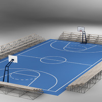 3d model basketball court basket