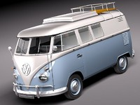 3d model of bus van antique volkswagen