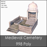 Medieval Cemetery, Low Poly, Textured