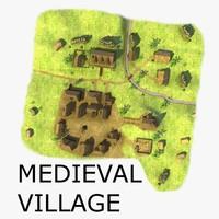 medieval village houses 3d model