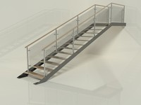 straight modern stairs 3d 3ds