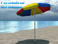 3d model 4 beach umbrella environment