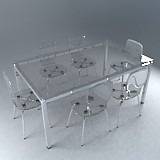 3ds max table chairs glass