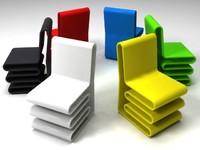 plastic chairs colors 3d model