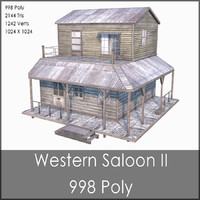 Western Saloon II, Low Poly, Textured