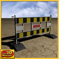 yellow-black construction barrier 3d model