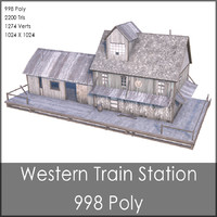 Western Train Station, Low Poly, Textured