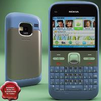 nokia e5 00 blue 3d model