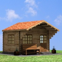 wood garden house 3d model