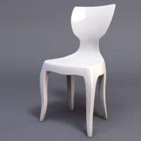 white bent wood designer chair 3d 3ds