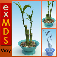 3ds max bamboo pot plant